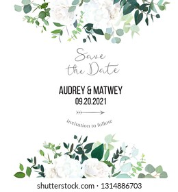 Floral vector banner frame with white rose, hydrangea, eucalyptus, emerald and mint greenery, green plants. Half moon shape bouquets. Wedding modern design card. All elements are isolated and editable