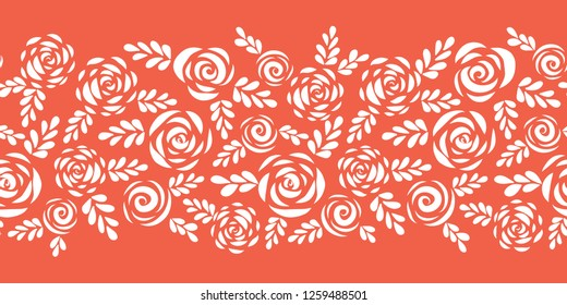 Floral vector border white roses on coral red seamless. Scandinavian style flowers and leaves. Floral silhouettes. Flower pattern for Valentines, greeting card, poster, banner, frame, stencil, wedding