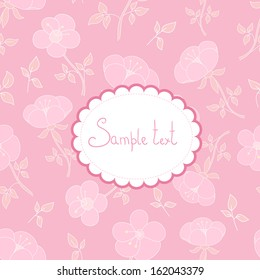 Floral vector card. Fantasy pink background and cute textbox. Ideal for invitation or celebration card.