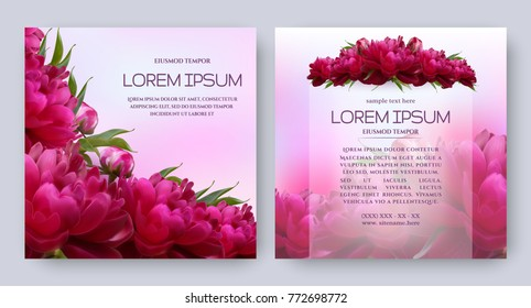 Floral vector card set with flowers of realistic dark red peony. Romantic templates for wedding invitation, greeting card, cosmetic products, packages, gift wraps and other design elements