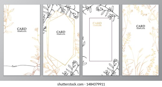 Floral vector card set, invitation and greeting cards. Hand drawn gold and black line herb pattern on white background. Can be used for - save the date, mothers day, valentines day, birthday cards.