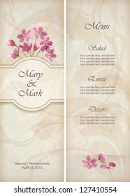 Floral vector decorative wedding menu invitation template design with beautiful realistic bouquet of pink flowers, abstract decorative wallpaper pattern on grunge textured background in vintage style