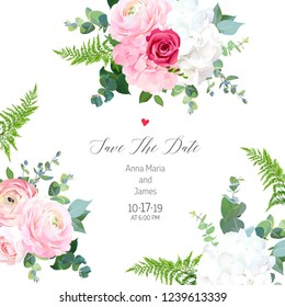 Floral vector design frame. Pink ranunculus, red rose, white hydrangea flowers, eucalyptus, forest fern, greenery. Wedding elegant card. All elements are isolated and editable