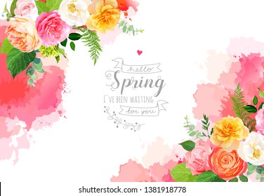 Floral vector design horizontal frame.Pink, yellow, fuchsia rose, orange ranunculus, juliet garden rose, green hydrangea, fern, greenery. Wedding watercolor card. Elements are isolated and editable