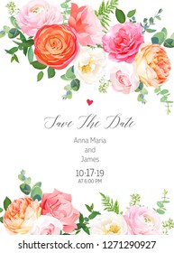 Floral vector design vertical frame.Pink rose, orange ranunculus, juliet garden rose, coral carnation flowers, eucalyptus, forest fern, greenery.Wedding elegant card.Elements are isolated and editable