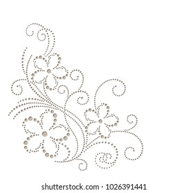 Floral vector element for greeting card. Corner decor for printing. Dotted flower for laser cutting. Beige flower drawing with dots different sizes. Abstract flower silhouettes for wedding invitations