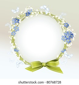 Floral vector frame with Forget-me-not, butterflies and ribbon bow