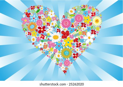 Floral vector heart