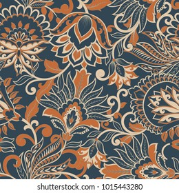 floral vector illustration in damask style. ethnic background