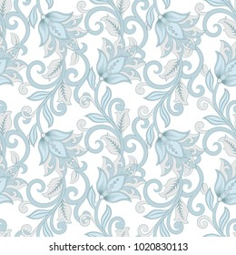floral vector illustration in damask style. seamless background