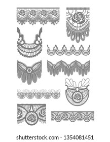 Floral Vector lace trims and brushes