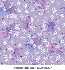 Floral vector lilac colors seamless pattern. Purple flowers with buds and small light blue florets. Freshness spring background. Template for design, textile, wallpaper, wrapping.