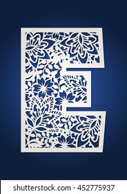 Floral vector monogram initial for laser cutting. Cap letter E. Wood cutting pattern.