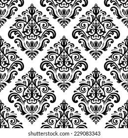 Floral vector oriental pattern with damask, arabesque and floral elements. Black and white seamless abstract wallpaper and background