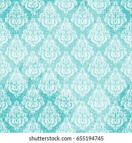 Floral vector oriental pattern with damask, arabesque and floral elements. Shabby scribbled seamless pattern with halftone dots