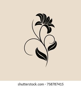 Floral vector ornament. Flower and leaves. Black pattern on a beige background.