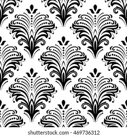 Floral Vector Black White Ornament Seamless Stock Vector Royalty