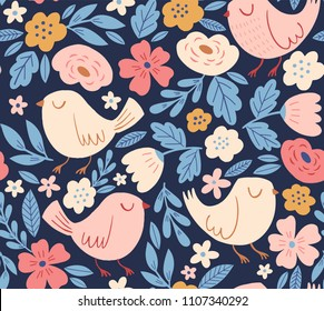 Floral vector pattern with birds. Retro vintage seamless background with spring flowers, birds and leaves. Cartoon style, hand drawn childish print design.