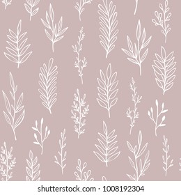 Floral vector pattern with hand drawn branches, leaves and twigs. Romantic vintage botanical seamless background.