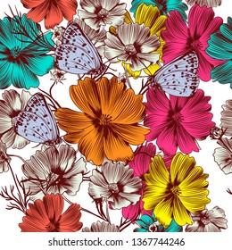 Floral vector pattern with pink cosmos and blue butterflies