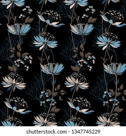 Floral vector pattern with weaving ornament of astrantia flowers and branches with berries