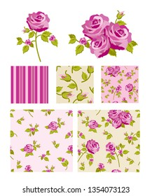 Floral vector repeat patterns and icons