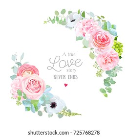 Floral vector round frame with pink rose, hydrangea, camellia, white anemone flowers, eucalyptus, ranunculus, green mixed plants. Half moon shape bouquets. All elements are isolated and editable.