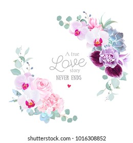 Floral vector round frame of purple orchid, pink rose, hydrangea, campanula flowers,carnation, succulent,eucalyptus.Half moon shape bouquet.Wedding modern design.All elements are isolated and editable