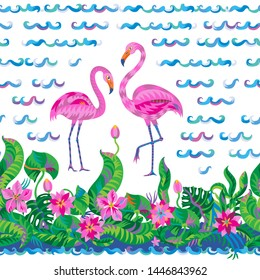 NAVY Luxury Printed Cotton Jersey Fabric Material FLAMINGO STRIPES