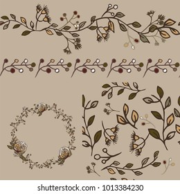 Floral vector seamless elements