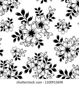 Floral vector seamless pattern in black and white.