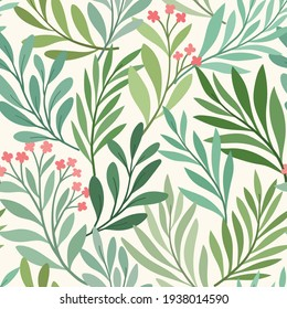 Floral vector seamless pattern. Delicate botanical wallpaper. Repeatable background with leaves.