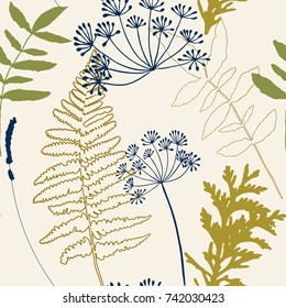 Floral vector seamless pattern with dill and lavender flowers, fern leaves and evergreen pine tree branches.