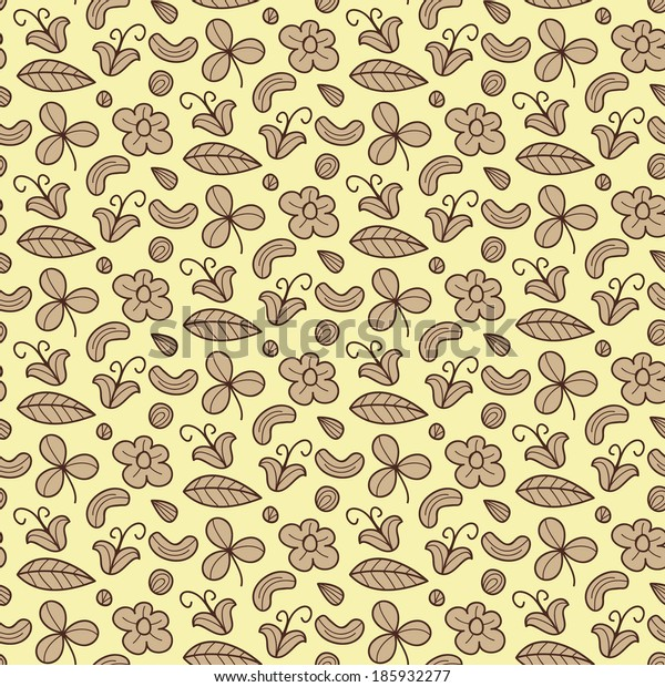 Floral vector seamless pattern with flower, nut, clover, leaf. Forest items natural background. Endless texture can be used for wallpaper, website background, textile printing.