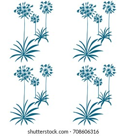 Floral vector seamless pattern with hand drawn african lily flowers and leaves. Simple hand drawn leaves and flowers outlines .