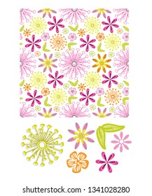 Floral vector seamless pattern and icons