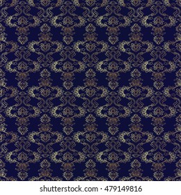 Floral vector seamless pattern wallpaper illustration with vintage stylish decorative  gold flowers and ornaments on the dark blue background in Victorian style.. Luxury endless texture.