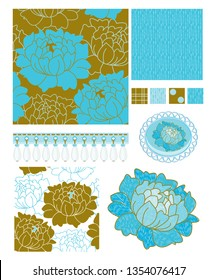 Floral Vector Seamless Patterns and Icons