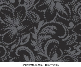 Floral vector silhouettes. Botanical seamless pattern. Hand drawn abstract flowers, roses buds and wild petals. Monochrome  background for textile, fabric, wrapper, wallpaper and surface.