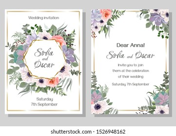 Floral vector template for invitation. Polygonal golden frame, white anemones, pink roses, succulents, eucalyptus, berries, plants and flowers. All elements are isolated.