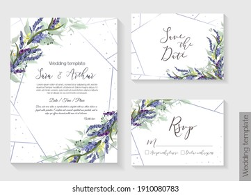 Floral vector template for wedding invitation. Lavender, green leaves. Vector invitation set: square card for invitation, save the date, rsvp