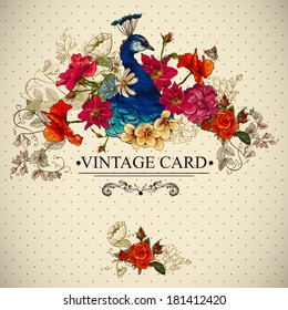 Floral Vector Vintage Card with Peacock and Butterflies. Victorian style. Vector Design element.