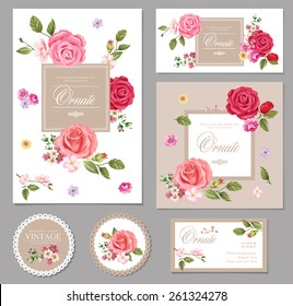Floral vector  vintage invitation. Set.