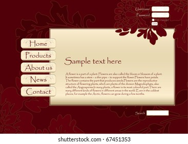 Floral vector web site design template