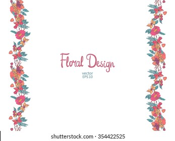 Floral vertical border with flowers berries and  butterfly in warm colors. Autumn illustration