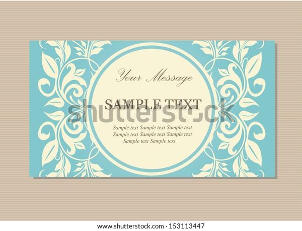 Floral Vintage Business Invitation Card Stock Vector
