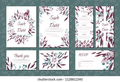 floral vintage cards set wedding invitation stock vector royalty