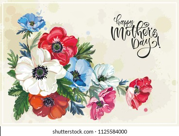 Floral vintage greeting card with beautiful bouquet, blossoming spring anemones. Elegant template with flowers for congratulation. Illustration for print or background in watercolor shabby chic style