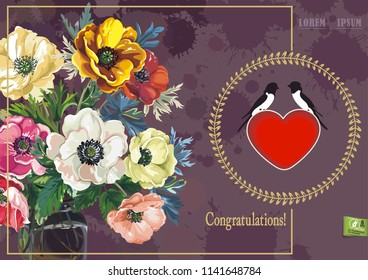 Floral vintage greeting card with beautiful bouquet blossoming spring anemones. Elegant template with flowers for congratulation. Illustration for print or background in watercolor shabby chic style
