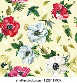 Floral vintage greeting seamless pattern with beautiful bouquet blossoming spring anemones. Elegant template with flowers. Illustration for print or background in watercolor style